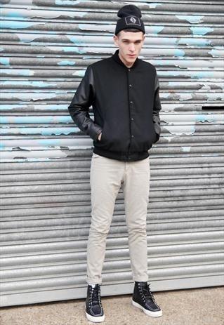 Áo khoác nam cardigan mỏng tay da đẹp đông 2016 - 2017 năng động xuống phố phần 13
