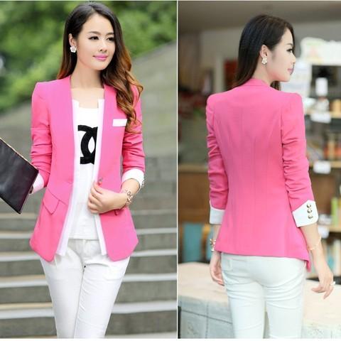 Áo khoác nữ màu hồng đẹp cho nàng công sở trang nhã thu đông 2016 - 2017 phần 4