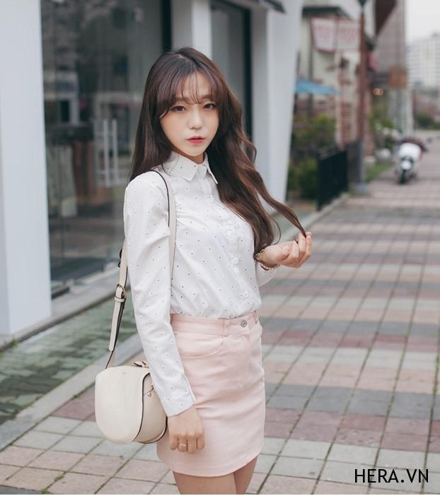 Áo sơ mi nữ chấm bi đẹp cho nàng gầy cao xinh xắn duyên dáng hè 2017 phần 9