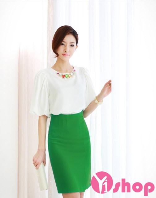 Áo sơ mi nữ vải voan cổ tròn công sở Hàn Quốc đẹp hè 2017 cho nàng vai ngang phần 1