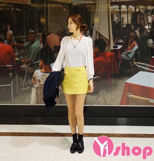 Áo sơ mi nữ vải voan cổ tròn công sở Hàn Quốc đẹp hè 2017 cho nàng vai ngang phần 10
