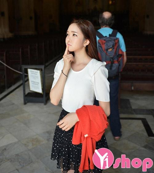 Áo sơ mi nữ vải voan cổ tròn công sở Hàn Quốc đẹp hè 2017 cho nàng vai ngang phần 7