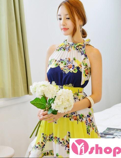 Kiểu váy đầm hoa xòe đẹp hè 2016 - 2017 cho nàng thấp lùn che khuyết điểm phần 15