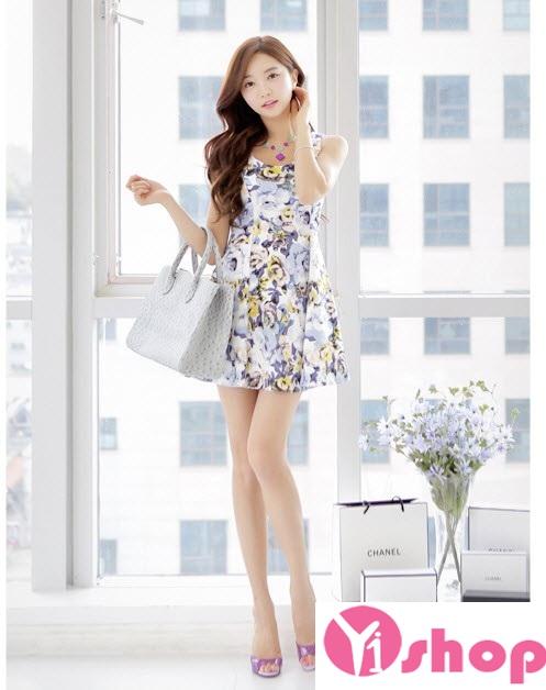Kiểu váy đầm hoa xòe đẹp hè 2016 - 2017 cho nàng thấp lùn che khuyết điểm phần 4
