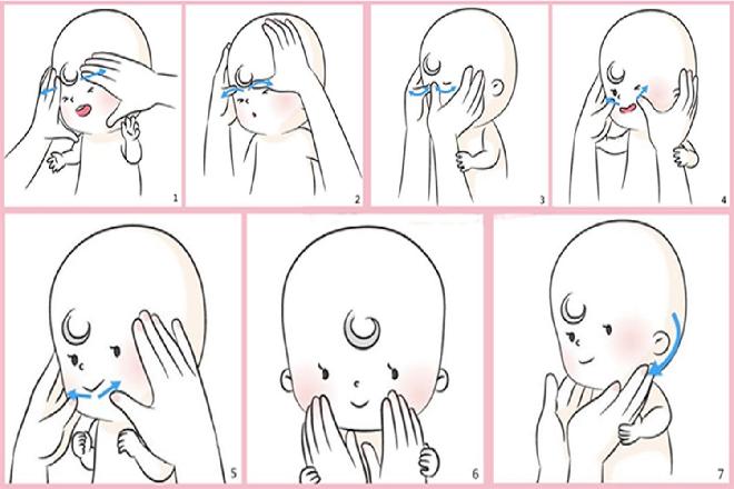 các bước massage mặt cho trẻ sơ sinh