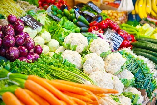 sạp bán rau củ quả