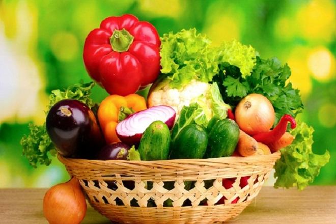 rau xanh và hoa quả