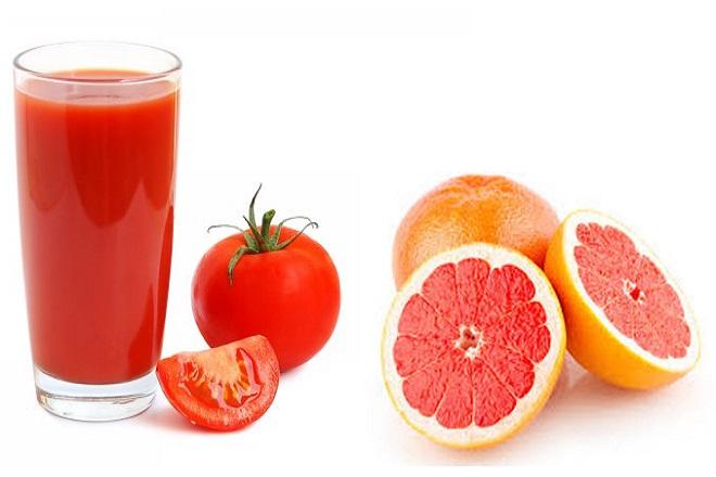 nước ép bưởi cà chua làm đẹp vòng 2 sau khi sinh