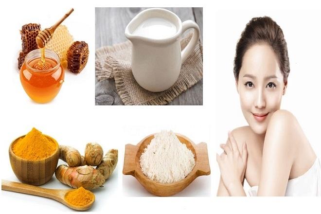 phụ nữ làm đẹp sau sinh với nghệ và bột mì