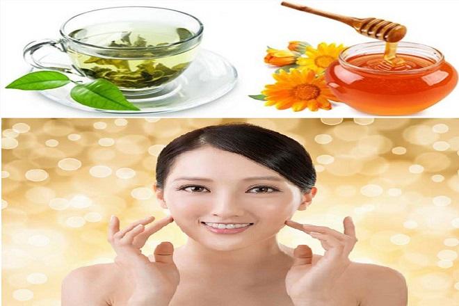 trà xanh và mật ong