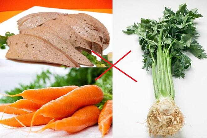 gan động vật kỵ với cà rốt và rau cần