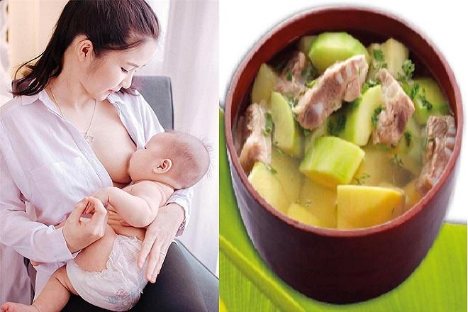 mẹ cho con bú ăn canh đu đủ xanh khi bị tắc sữa sau sinh