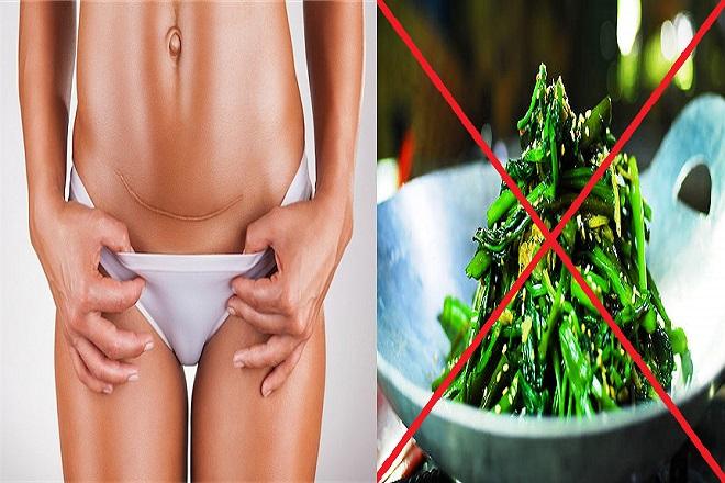 mẹ tránh ăn rau muống sau sinh mổ