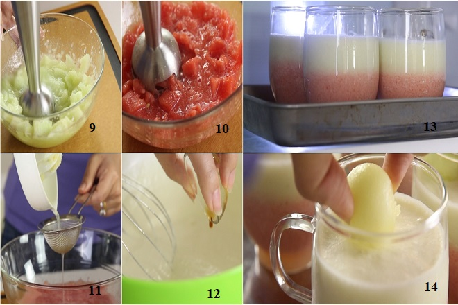 cách làm bánh mousse dưa hấu dưa gang