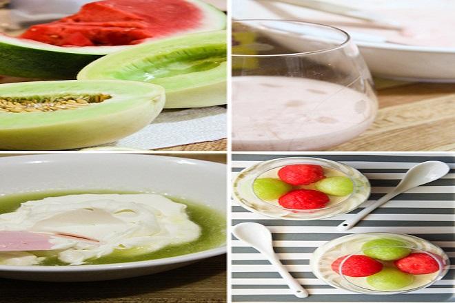cách làm món bánh mousse dưa 2 màu