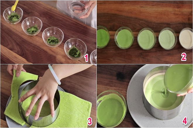 hướng dẫn công thức làm bánh mousse trà xanh