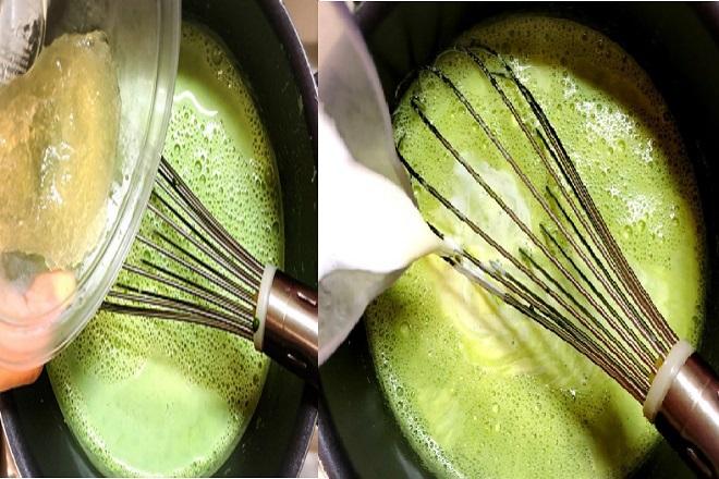 hỗn hợp matcha và kem tươi làm bánh pudding matcha