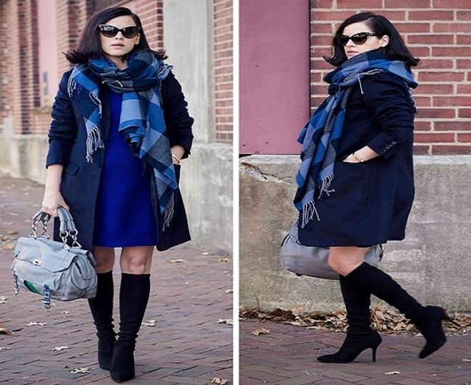 khăn quàng cổ và boot là trang phục cho bà bầu mùa đông