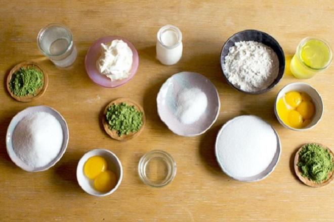 nguyên liệu học cách làm bánh mousse trà xanh