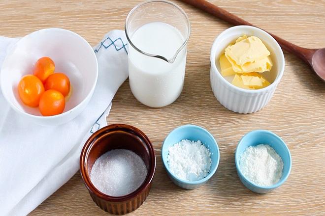 nguyên liệu cho cách làm bánh su kem