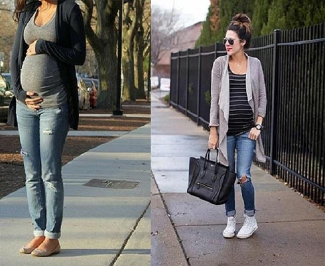 quần jean và áo thun là set đồ mùa đông cho bà bầu