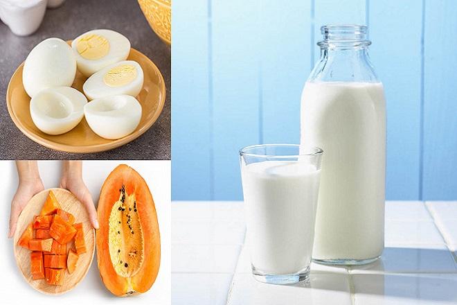sữa bò trứng gà và đu đủ là những thực phẩm có lợi cho vòng 1
