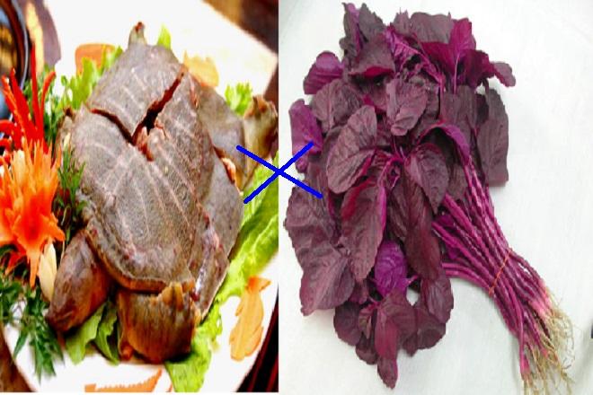 thịt baba và rau dền là thực phẩm kỵ nhau
