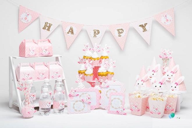 Trang trí tiệc sinh nhật theo phong cách thỏ hồng Bunny