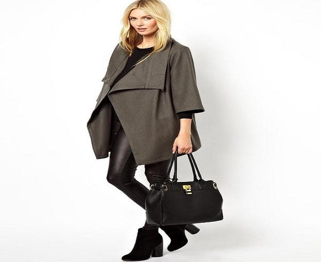 thời trang bà bầu công sở mùa đông với áo khoác trơn