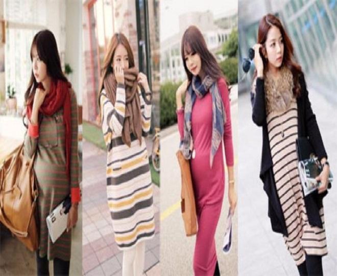 trang phục phối nhiều lớp là set đồ mùa đông cho mẹ bầu