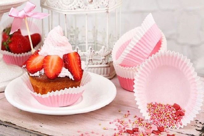 cách làm cupcake dâu