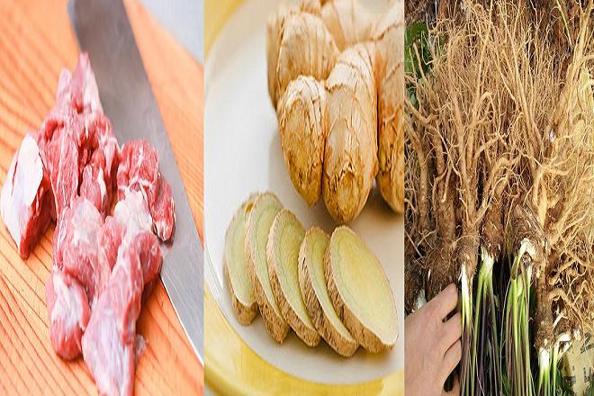 thịt dê gừng và đương quy dùng để làm thuốc chữa đau bụng sau sinh