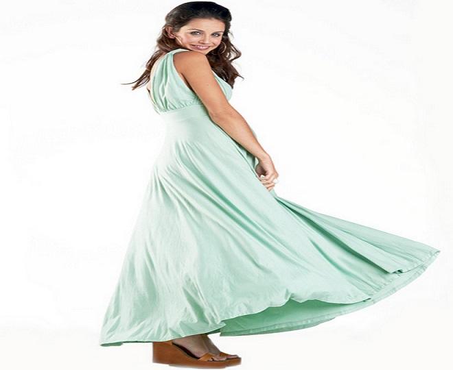 váy maxi đơn sắc cho bà bầu đi tiệc