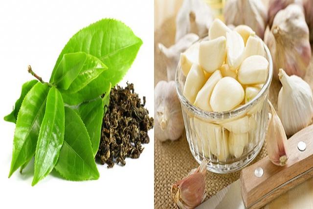 lá trà xanh và tỏi dùng để chữa ê buốt răng