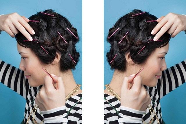 dùng kẹp để cố định tóc