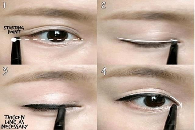kẻ eyeliner cho mắt mí lót dày và đậm