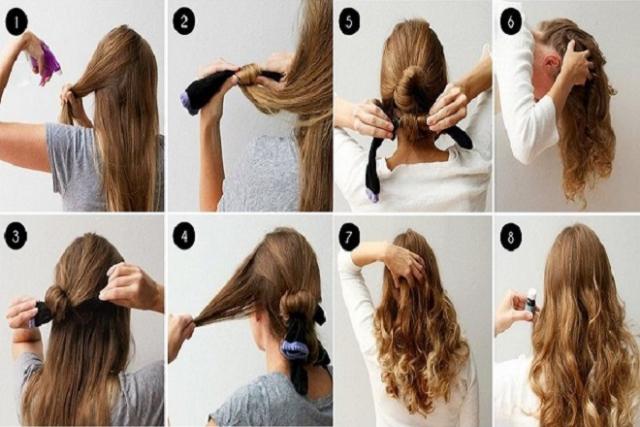 làm xoăn tóc bằng tất