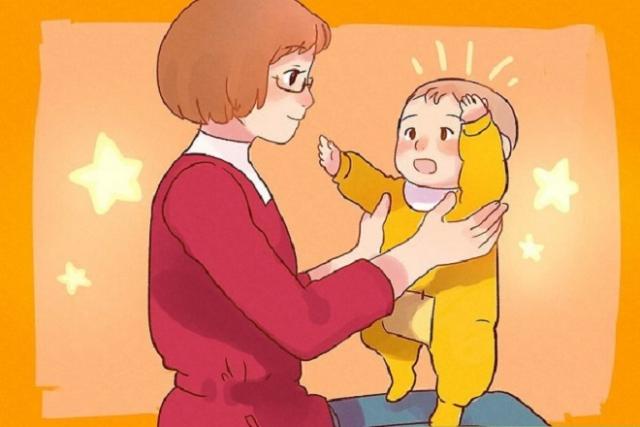 mẹ dạy bé tập đứng