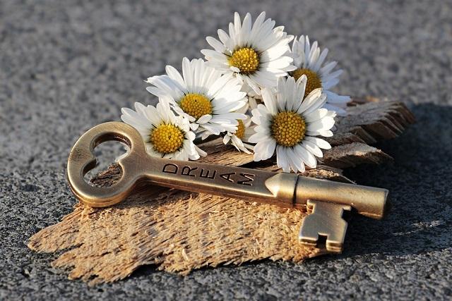 chìa khóa và hoa cúc