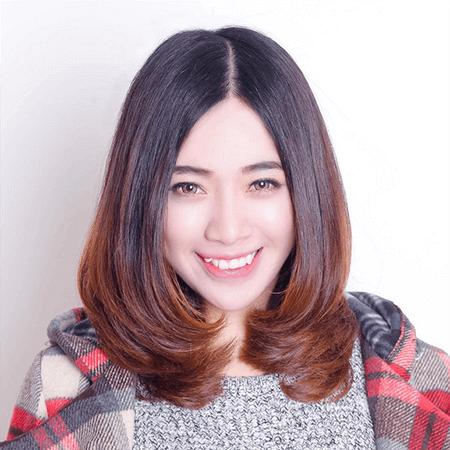 Kiểu tóc không mái uốn cụp cho mặt dài
